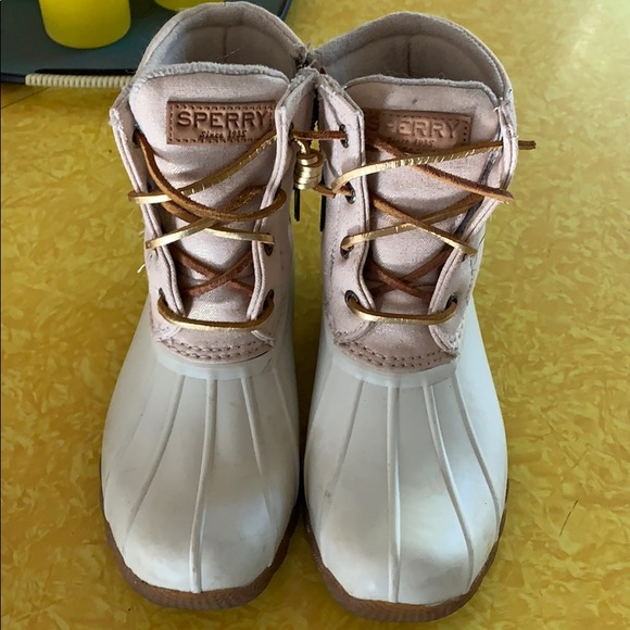 Sperry White And Rose Gold Duck Boots